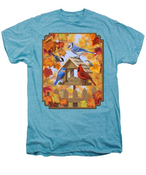 Bird Painting - Autumn Aquaintances Men's Premium T-Shirt by Crista Forest