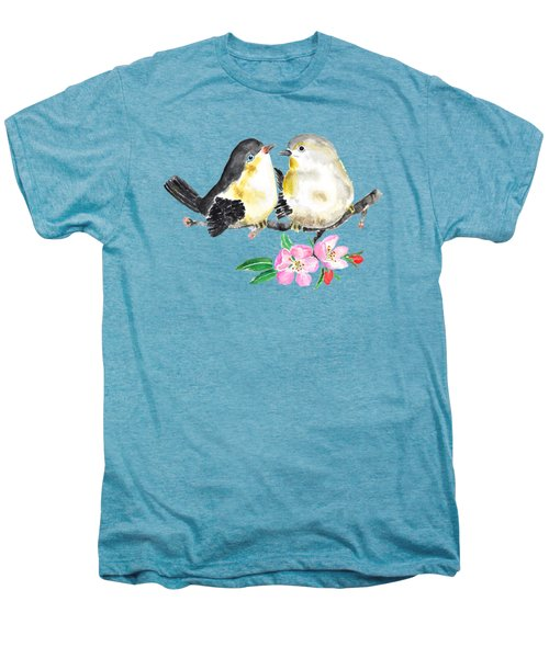 Birds And Apple Blossom Men's Premium T-Shirt by Color Color
