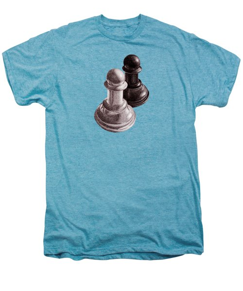 Black And White Chess Pawns Pattern Men's Premium T-Shirt