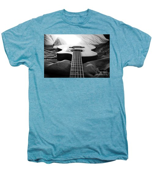 Men's Premium T-Shirt featuring the photograph Black And White Guitar by MGL Meiklejohn Graphics Licensing