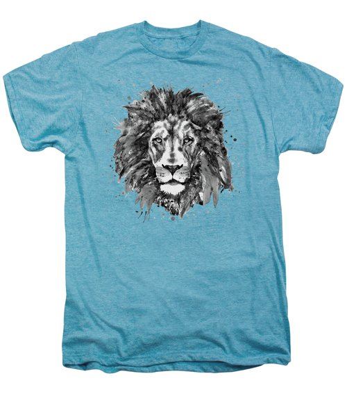 Black And White Lion Head  Men's Premium T-Shirt by Marian Voicu