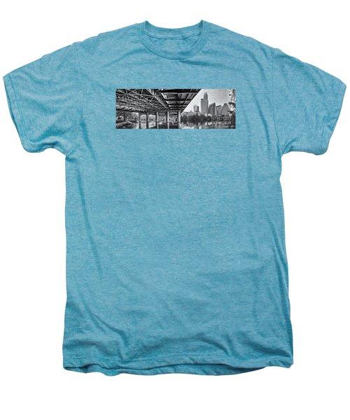 Black And White Panorama Of Downtown Austin Skyline Under The Bridge - Austin Texas  Men's Premium T-Shirt by Silvio Ligutti