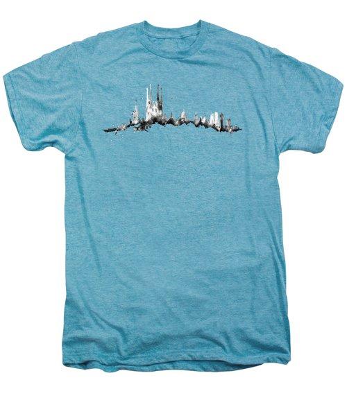 Black Barcelona Skyline Men's Premium T-Shirt by Aloke Creative Store