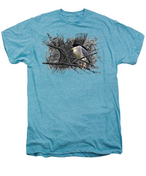 Black Crowned Night Heron 001 Men's Premium T-Shirt by Di Designs