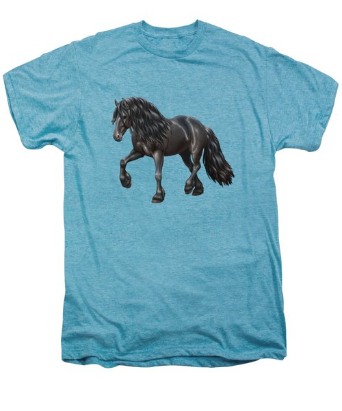 Black Friesian Horse In Snow Men's Premium T-Shirt by Crista Forest
