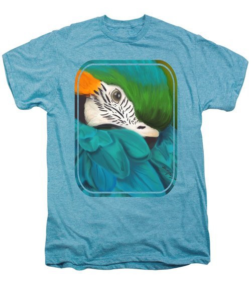 Blue And Gold Macaw Men's Premium T-Shirt by Becky Herrera