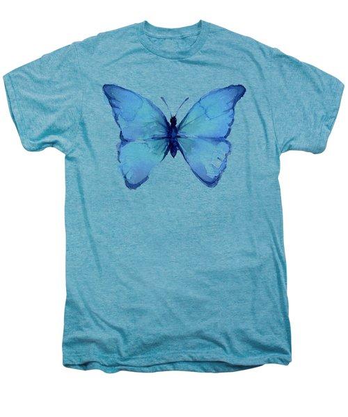 Blue Butterfly Watercolor Men's Premium T-Shirt