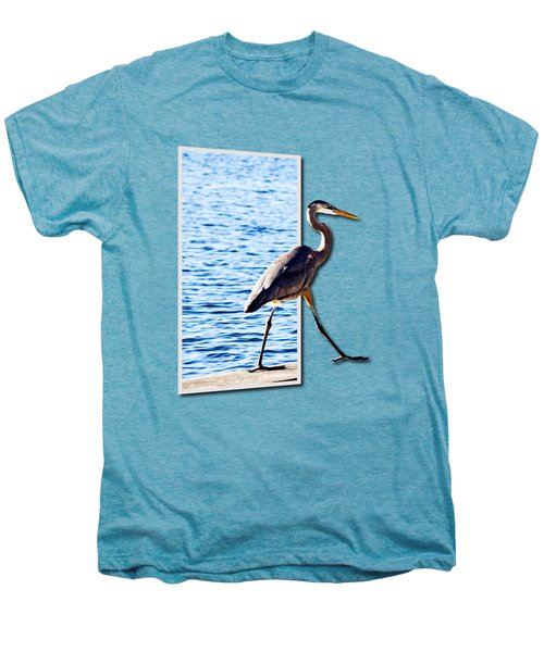 Blue Heron Strutting Out Of Frame Men's Premium T-Shirt