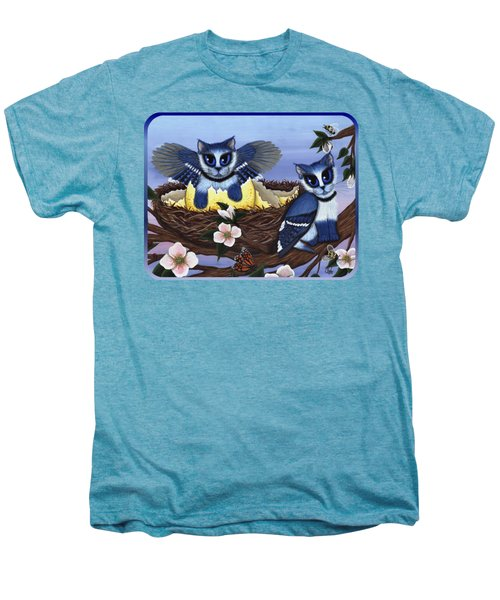 Blue Jay Kittens Men's Premium T-Shirt by Carrie Hawks