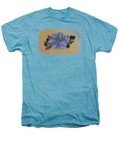Blue Larkspur And Oregano Pressed Flower Arrangement Men's Premium T-Shirt