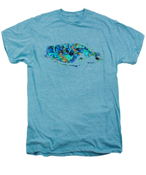 Blue Sea Turtle By Sharon Cummings  Men's Premium T-Shirt by Sharon Cummings