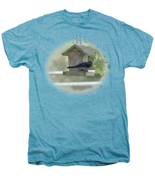 Bluejay Men's Premium T-Shirt by Judy Hall-Folde