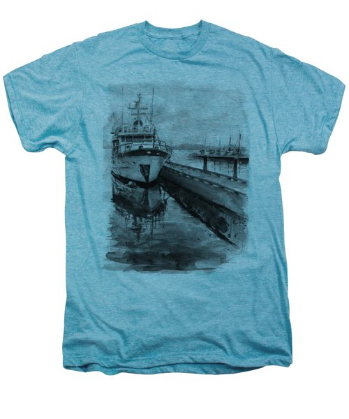 Boat On Waterfront Marina Kirkland Washington Men's Premium T-Shirt by Olga Shvartsur