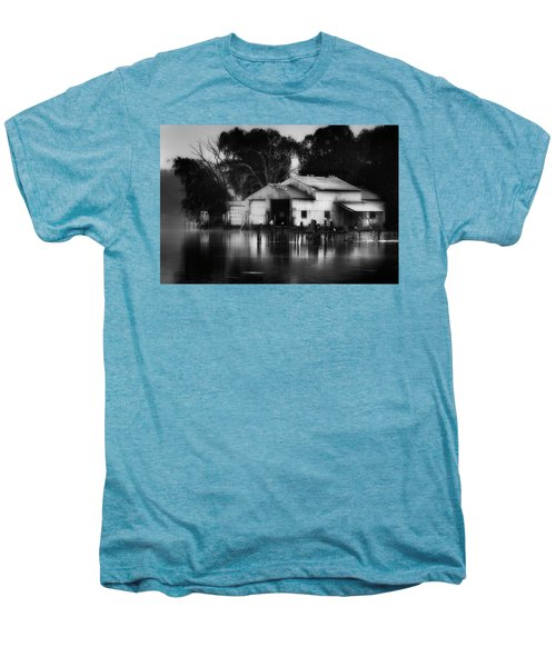 Men's Premium T-Shirt featuring the photograph Boathouse Bw by Bill Wakeley