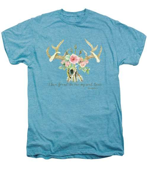 Boho Love - Deer Antlers Floral Inspirational Men's Premium T-Shirt by Audrey Jeanne Roberts