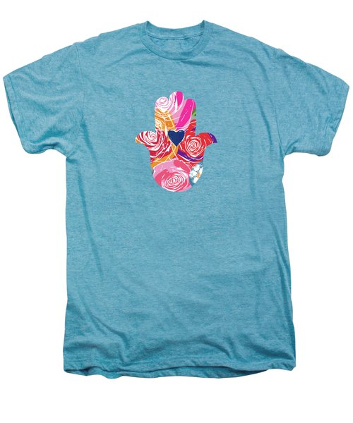 Bold Floral Hamsa- Art By Linda Woods Men's Premium T-Shirt by Linda Woods