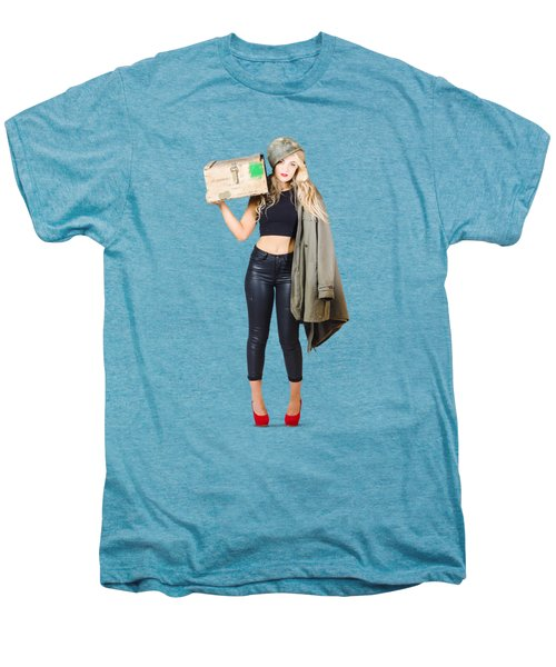 Bombshell Blond Pinup Woman In Dangerous Style Men's Premium T-Shirt