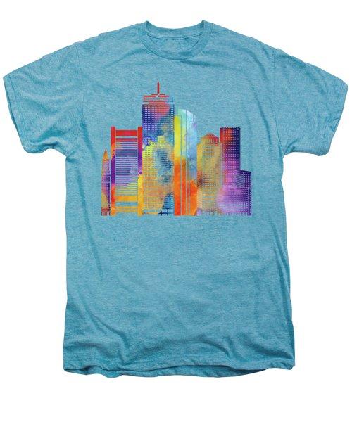 Boston Landmarks Watercolor Poster Men's Premium T-Shirt by Pablo Romero