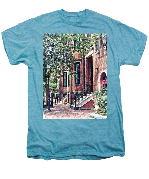 Boston Ma - Walking The Dog On Mount Vernon Street Men's Premium T-Shirt