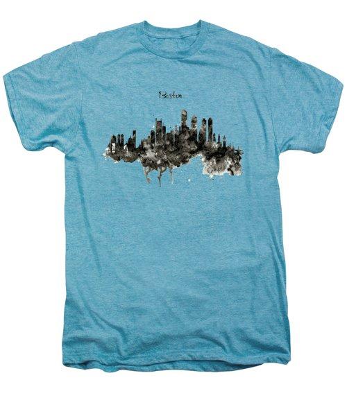Boston Skyline Black And White Men's Premium T-Shirt by Marian Voicu