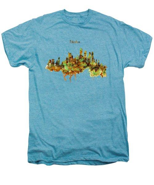 Boston Watercolor Skyline Men's Premium T-Shirt by Marian Voicu