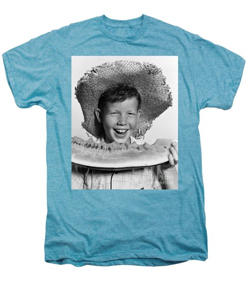 Boy Eating Watermelon, C.1940-50s Men's Premium T-Shirt by H. Armstrong Roberts/ClassicStock