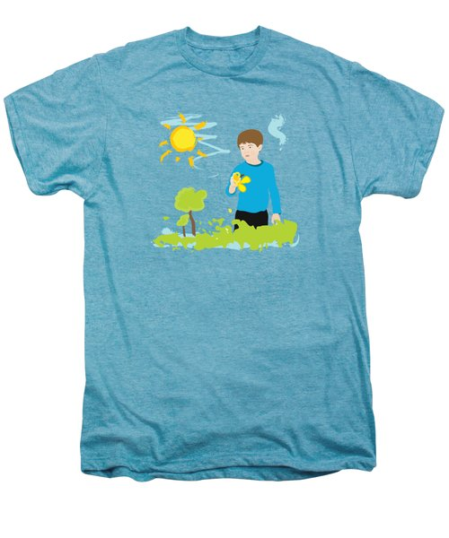 Boy Painting Summer Scene Men's Premium T-Shirt