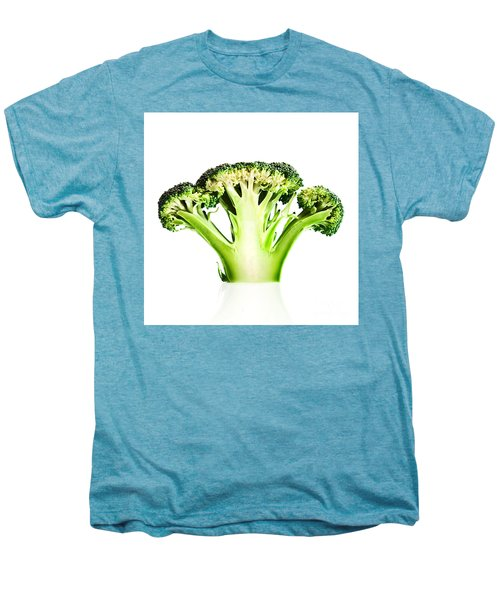 Broccoli Cutaway On White Men's Premium T-Shirt by Johan Swanepoel