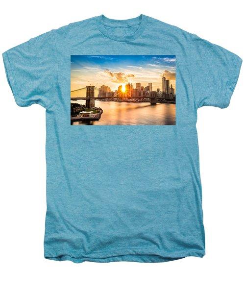 Brooklyn Bridge And The Lower Manhattan Skyline At Sunset Men's Premium T-Shirt