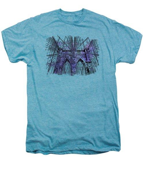 Brooklyn Bridge Berry Blues 3 Dimensional Men's Premium T-Shirt by Di Designs