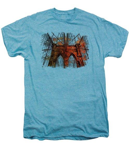 Brooklyn Bridge Earthy Rainbow 3 Dimensional Men's Premium T-Shirt by Di Designs