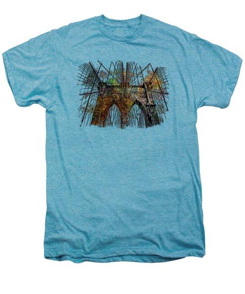 Brooklyn Bridge Muted Rainbow 3 Dimensional Men's Premium T-Shirt
