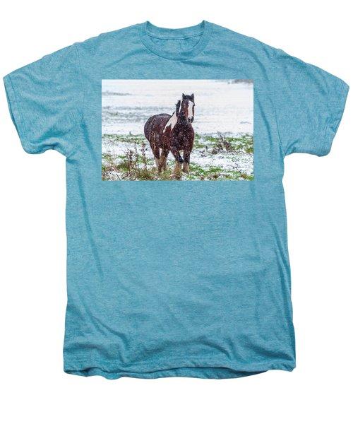 Brown Horse Galloping Through The Snow Men's Premium T-Shirt