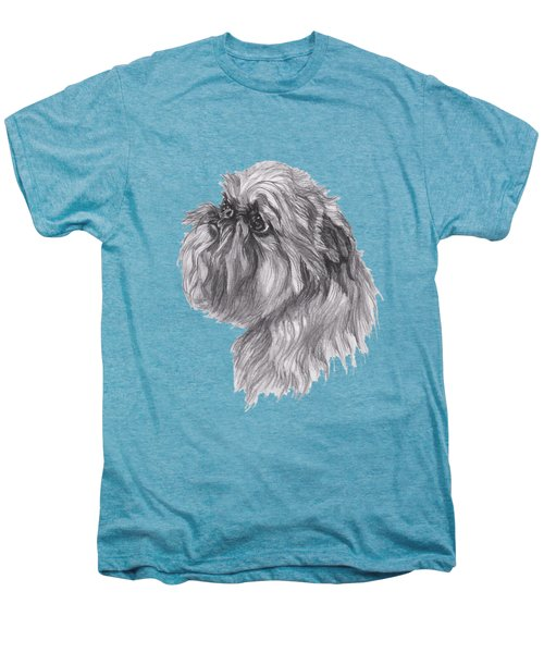 Brussels Griffon Dog Portrait  Drawing Men's Premium T-Shirt