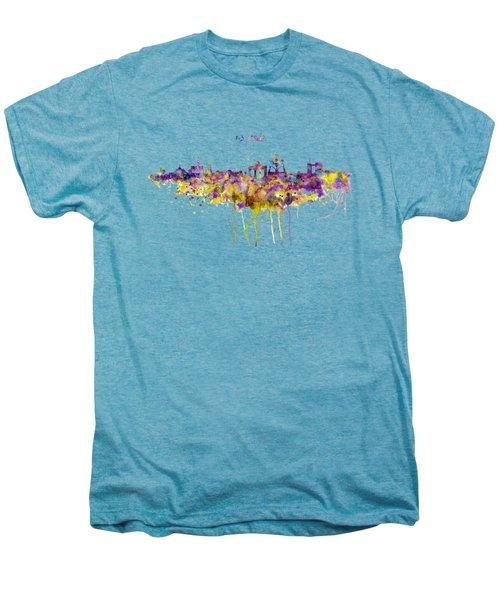 Brussels Skyline Silhouette Men's Premium T-Shirt by Marian Voicu
