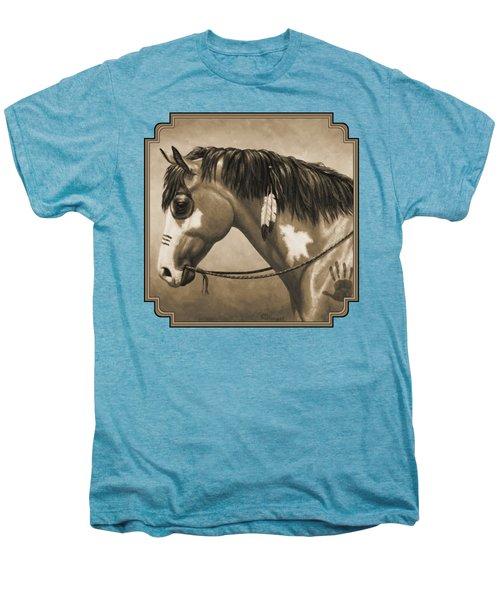 Buckskin War Horse In Sepia Men's Premium T-Shirt by Crista Forest