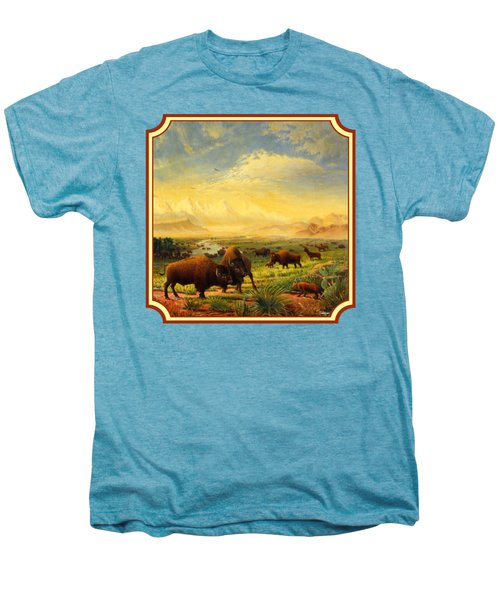 Buffalo Fox Great Plains Western Landscape Oil Painting - Bison - Americana - Square Format Men's Premium T-Shirt
