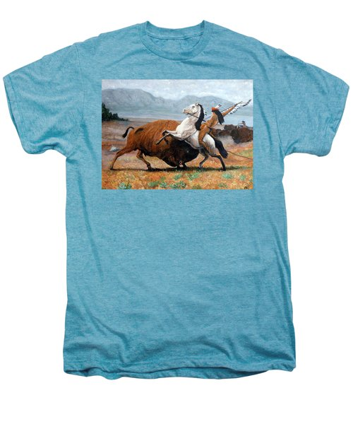 Buffalo Hunt Men's Premium T-Shirt by Tom Roderick