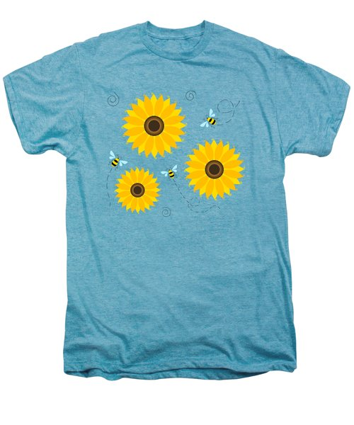 Busy Bees And Sunflowers - Large Men's Premium T-Shirt by SharaLee Art