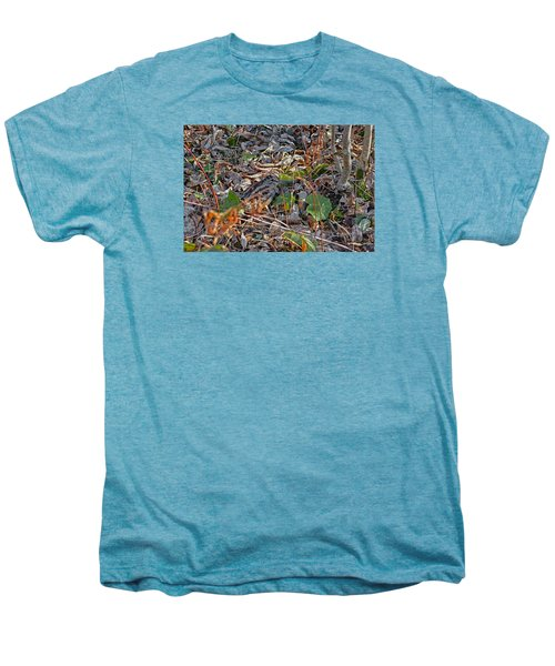 Camouflaged Plumage With Fallen Leaves Men's Premium T-Shirt by Asbed Iskedjian