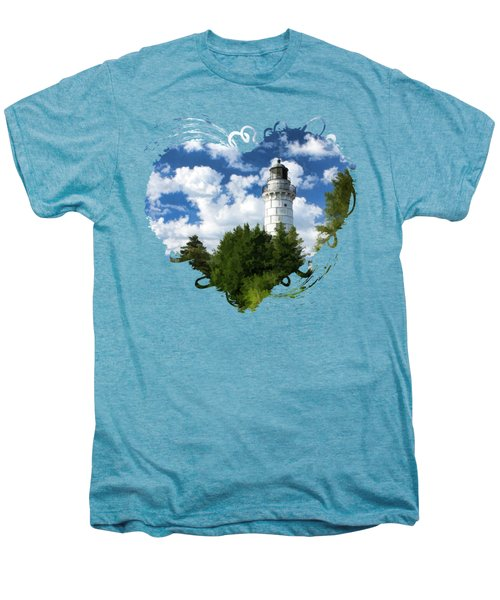Men's Premium T-Shirt featuring the painting Cana Island Lighthouse Cloudscape In Door County by Christopher Arndt