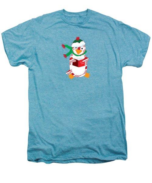 Candy Cane Penguin Men's Premium T-Shirt by Jane E Rankin