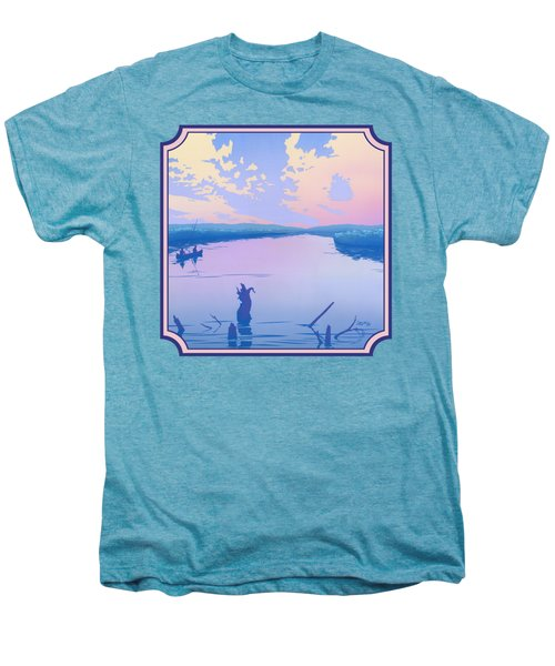 Canoeing The River Back To Camp At Sunset Landscape Abstract - Square Format Men's Premium T-Shirt