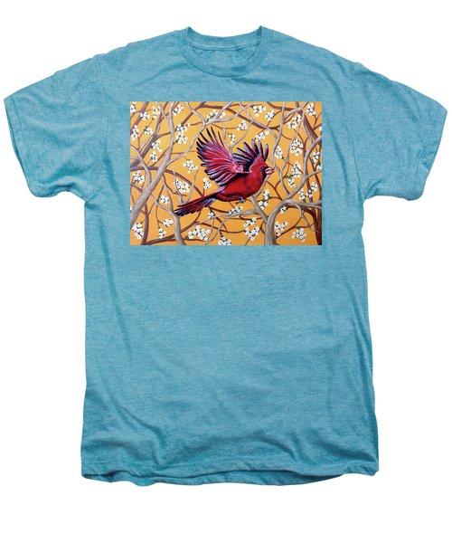 Cardinal In Flight Men's Premium T-Shirt by Teresa Wing