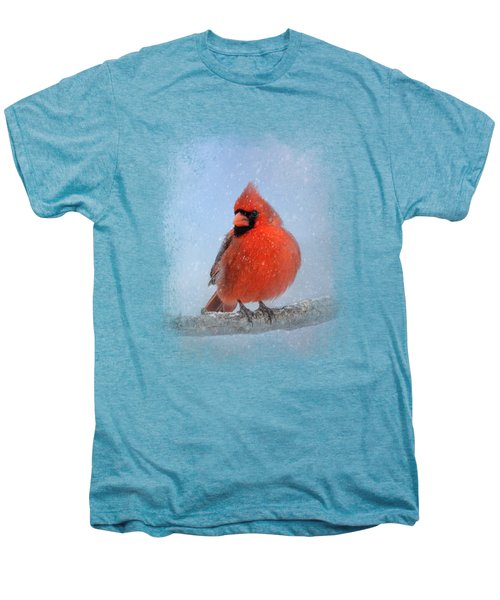 Cardinal In The Snow Men's Premium T-Shirt by Jai Johnson