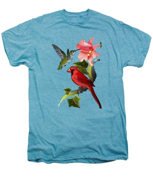 Cardinal On Ivy Branch With Hummingbird And Pink Lily Men's Premium T-Shirt