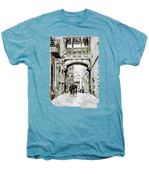 Carrer Del Bisbe - Barcelona Black And White Men's Premium T-Shirt by Marian Voicu
