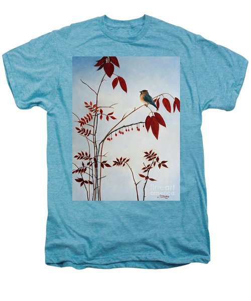 Cedar Waxwing Men's Premium T-Shirt by Laura Tasheiko