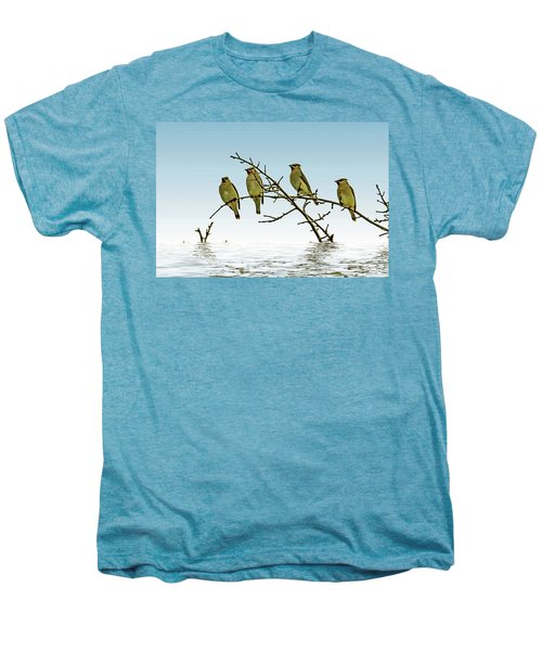 Cedar Waxwings On A Branch Men's Premium T-Shirt by Geraldine Scull