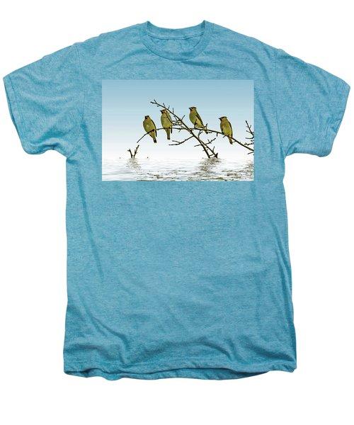 Cedar Waxwings On A Branch Men's Premium T-Shirt